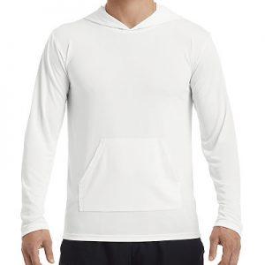 Gildan Performance Adult Hooded Tee (LS) - White, 3XL